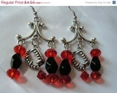 FINAL SALE Clearance - Vampire Teeth Chandelier Earrings Black and Red