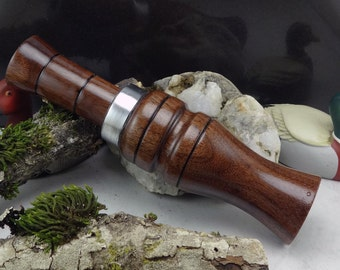 Short Reed goose Call  in Black Waknut With Aluminum Band #224