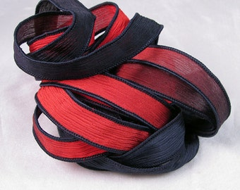 Hand Dyed Silk Ribbons - Crinkle Silk Jewelry Bracelet Fairy Ribbon - Quintessence - Black and Red