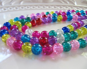8mm CRACKLE Glass Beads in Mixed Colors, 48 Beads, Round, Translucent