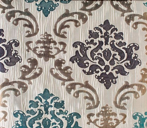 Custom cream curtains with beige navy teal damask pattern for Beige damask curtains