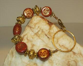 Red and Gold Ceramic & Vermeil Charm Bracelet