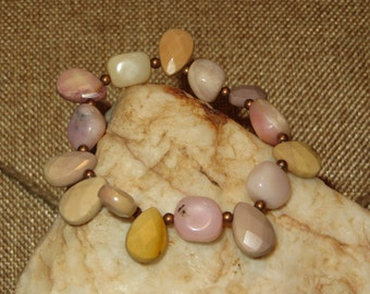 Pink Peruvian Opal and Mookaite Teardrop Stretch Bracelet with Antique Copper Spacer Beads
