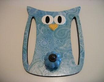 Blue Owl Wall Plague Decor Coat Rack Blue Owl Decor Paisley Pattern