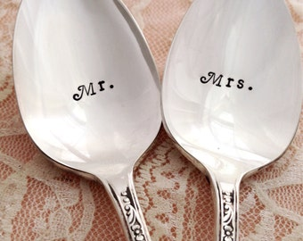 Mr and Mrs spoons, vintage hand stamped spoons, queen bess