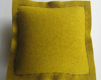 Mustard Industrial Felt Pillow 13 x 13 inches