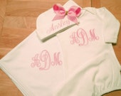 New Baby Gift Set Monogrammed White Gown, Hat and Blanket Layette Set Baby Shower Gift