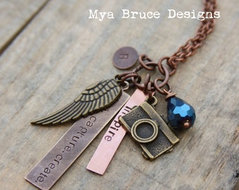 Mixed metal photographer necklace - personalize with company name and inspire and initial pendant, with beautiful dark blue crystal drops