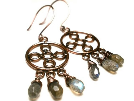Earth Toned Copper and Labradorite Chandelier Earrings