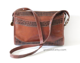 Vintage Brahmin Brown Leather and Crocodile Leather Cross Body Shoulder Bag, Leather Purse , Item No. 72919