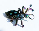 Beaded Beetle Pendant - glass beaded insect