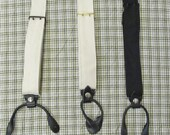 Braces / Suspenders - one size fits most - natural or black cotton canvas -  two prong buckles - leather tabs