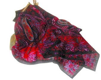 Vintage Liz Claiborne Large Square Paisley Fine Wool Scarf or Shawl in Reds and Black