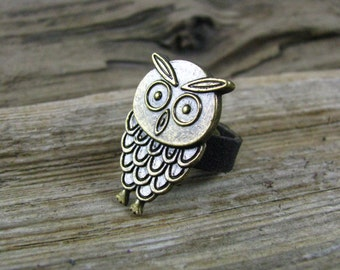 Leather Jewelry -  Leather Ring -  Distressed Ring -  Leather Charm Owl Ring - Owls - Brown Leather Ring