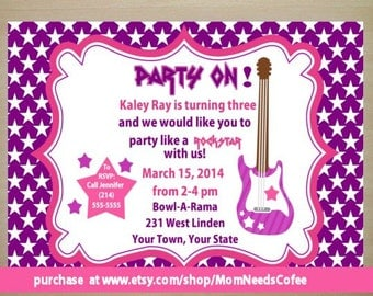 Guitar birthday invitation, guitar invitation, guitar invites, rockstar invitation, Guitar invite, rockstar invite