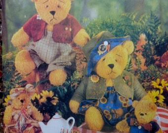 Beardeaux Bear Family Pattern Butterick 5029 Teddy Bears 15 and 7.5 inch Bears Sewing Pattern UNCUT