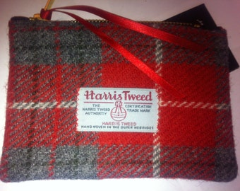 Harris tweed clutch purse bag wallet cosmetic pouch make up bag gift woman gift girl made in Scotland