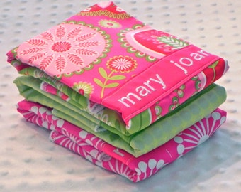 Personalized Burp Cloth Set - Set of 3 Personalized Baby Burp Cloths Baby Girl Fuchsia Pink Lime Green Flower Bursts Iridescent Polka Dots