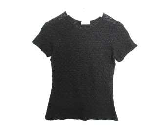 90's Sheer Textured Lace Top size - S/M