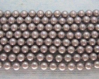 6mm Silver Grey South Sea Shell Pearl Beads - 16 Inch Strand