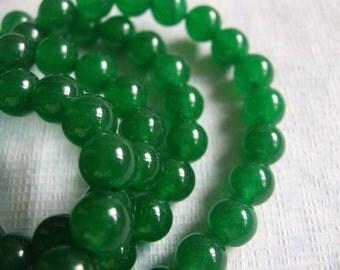 15.5 Inch Strand Green Jade Smooth Round Beads 8mm