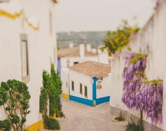 White Blue Houses, Travel Decor, Wisteria Fine Art Print, Pastel Houses, Romantic, Shabby Chic Decor, Cottage Decor, Orange, Purple Flowers