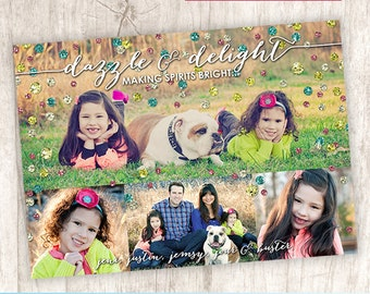Sparkles Christmas Photo Card, Cute Modern Picture Collage Holiday Photo Card - DiY Printable, Print Service Available || Dazzle + Delight