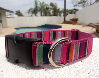 "Sale Dog Collar 1"" wide Quick Release buckle or Martingale collar style Spirit Stripes"
