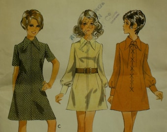 """1960s Mini Hippie Dress Pattern, Zipper Front, A-Line, Pointed Bias Collar,  Long Sleeves, Cuffs, Style No. 2530 Size 13/14 Bust 33.5"""" 85cm"""