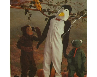 "Adult Penguin Costume Pattern, Monkey, Frog, Bodysuit, Hoods, Feet, Gloves, Simplicity No. 6670 Size Large (Chest 40-42"" 102-107cm)"