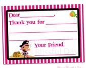 PRINTABLE Girl Pirate Fill-in-the-Blank Thank You Cards #569