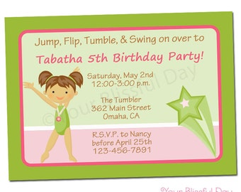 PRINTABLE Girl Gymnast Party Invitations (Character of your choice) #538