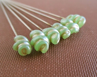 6 Vintage Green Glass Stick Pins - Gold Coloring in the Recesses