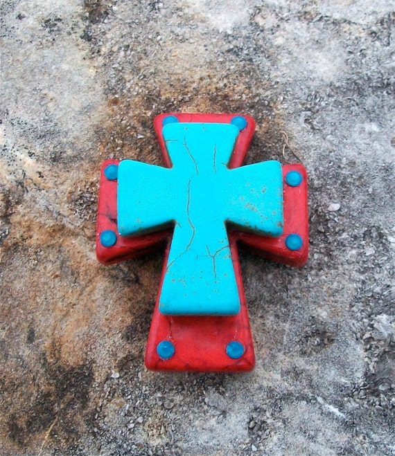 Red Blue Stone : Large stacked red stone cross with turquoise blue