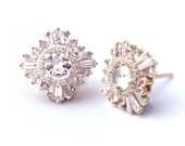 Gatsby Petite Earrings - Diamonds, Moissanite or White Sapphires - Bridal, Art Deco, Great Gatsby, custom-made, yellow, rose, white gold