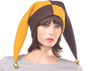Brown and Gold Harlequin Hat Two Pointed Patchwork Jester Hat Fleece Fools Cap Bells