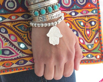Nomadic Silver plated beaded big HAMSA pendant stretch bracelets etched Antique pendant dangle Bohemian stacking Ethnic bracelet by Inali