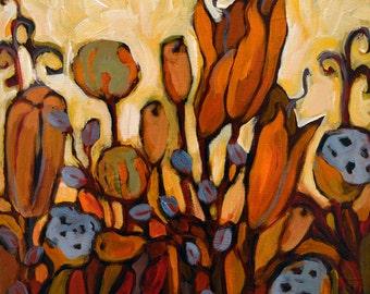 Seedpods Print/lotus pod art print/earth toned artwork/floral art print/warm colors art/fall colors wall art/Print/Giclee/Fine Art/12 x 12