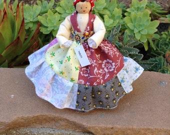 Haiti clothespin doll - Haitian doll - red, pink, blue, brown, purple dress