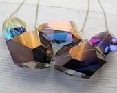Chunky Geometric Metallic Necklace: Statement Necklace, Aurora Borealis, Double Strand