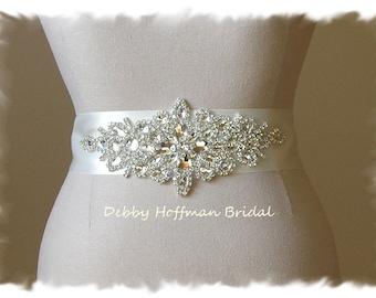 Bridal Sash, Rhinestone Crystal Wedding Sash, Jeweled Wedding Dress Belt, Crystal Bridal Belt, No. 3070S, Rhinestone Wedding Belt, Sash
