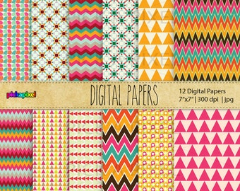 Digital Papers, Geometric Patterns - Personal and Commercial Use