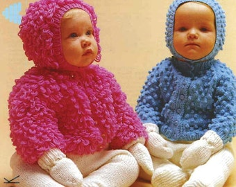 Handknitting  pattern, baby knits, loopy jackets, hat, mitts, leggings, outfit , vintage, immediate download bobble and loopy baby jacket