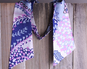 50s 60s Scarf - Vintage GoGo Purple and Blue Scarf - Mod Scarf - Shirt Collar