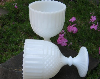 Pair of Matching White Milk Glass Compotes - Wedding Decor - Table Centerpieces - Oak Hill Vintage