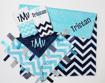 Personalized DOUBLE Navy and Turquoise MINKY CHEVRON Blanket Plus Ribbon Tag Balnket and 2 Burp Cloths