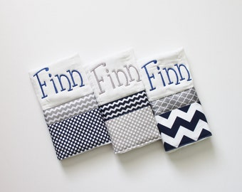 3 Personalized Baby Boy Burp Cloth Set in Navy and Gray - Polka Dots and Chevron