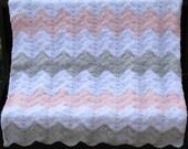 Pink, Gray, White Chevron Baby Blanket, Chevron Nursery Theme, Chevron Baby Shower Gift, Baby Girl Gift, Gift for Baby, Chevron Decor