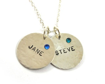 Personalized Necklace, name necklace, hand stamped necklace, birthstone necklace, Sterling Silver necklace, two names