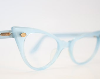 Blue pointy cat eye glasses small vintage cateye frames eyeglasses 1950s glasses